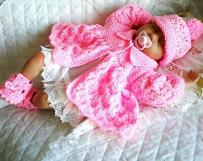 """Knitting Pattern Matinee Coat Set Hat Shoes 20""""- 22"""" Doll Or 0-3 Month Baby"""