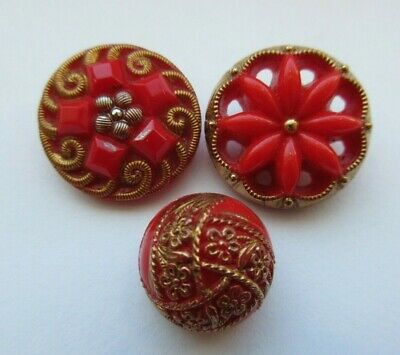 Amazing Lot of 3 Antique~ Vtg Bright Cherry Red GLASS BUTTONS Flowers (W)
