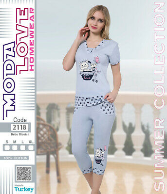 9acb1d18bf DAMEN PYJAMA CAPRI / Sommer Collection / 100% Baumwolle - EUR 8,99 ...