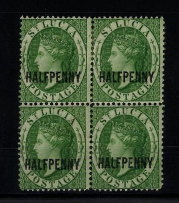 P114030 / St Lucia / British Colony / Sg # 25 Block Of 4 Mint Mh / Mnh 155 E