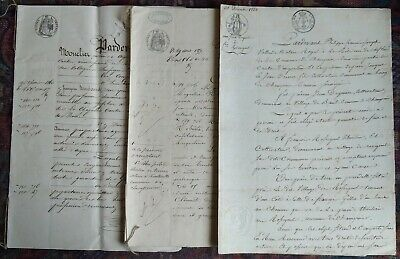 "documents très anciens lot de 3   ""  4 pages 1822 - 8 pages 1857 - 8 pages 1860"