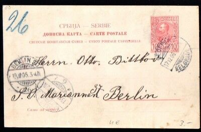 Serbia: 1906 pspc to Berlin from Belgrade