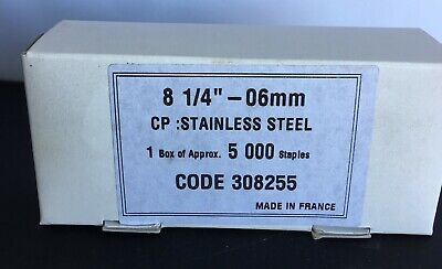 "#80 Series - 1/4"" Stainless Steel 21 Gauge Upholstery Staples 5000/Box"