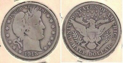 1915-D Silver Barber Half Dollar (50-cent Coin) in Very Good Condition ~