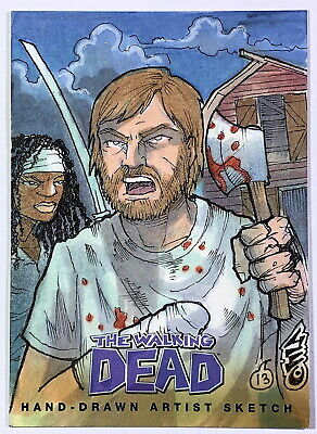 "Cryptozoic Walking Dead Comic Set 2 ""Rick Michonne"" Sketch Card by George Davis"