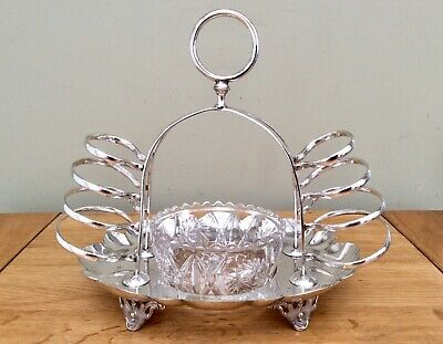 Antique Silver Plated Double Toast Rack-Butter/Jam-Combo DEYKIN & SONS C1870