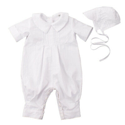 0-12 month Baby Boy Christening White Outfit Romper Baptism Suit Longall Clothes