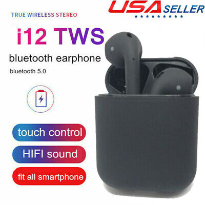 i12 TWS Bluetooth 5.0 Earphones Touch Control Headset HD Surround Sound Black US