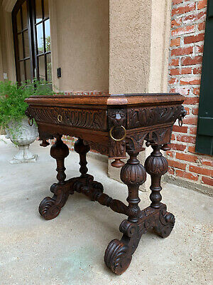 SMALL Antique French Victorian Carved Oak Library Desk TABLE Renaissance  Gothic