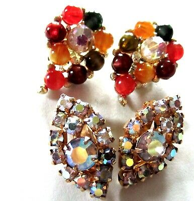 Gorgeous Vintage 2 Pair Lot Of Earrings ~ Rhinestones & Glass Clip Ons By Lisner