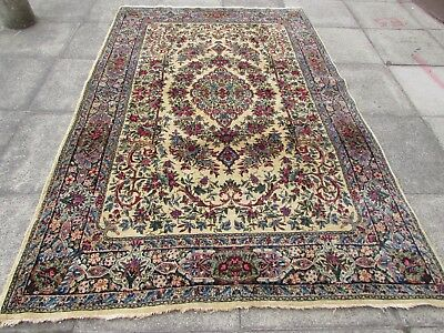 Fine Antique Traditional Hand Made Persian Oriental Wool Cream Carpet 266x175cm