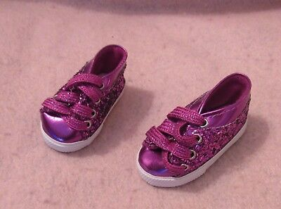 7a6fa1020f39c DOLL SHOES FITTING 18 in & American Girl Silver Glitter Ankle Hi ...
