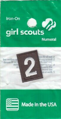 ~#2 Two~Brownie Brown Girl Scouts Troop Number Numeral Badge Patch~NEW