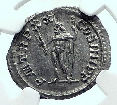 CARACALLA Authentic Ancient 217AD Rome Silver Roman Coin JUPITER NGC i77643