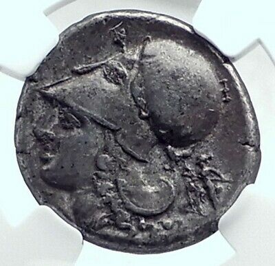 CORINTH Genuine Ancient 375BC Silver Stater Greek Coin ATHENA PEGASUS NGC i77644