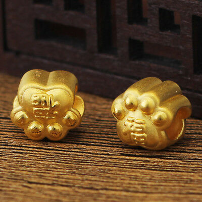 New Pure 24k Yellow Gold Pendant / 3D Lovely Dog Paw Pendant 10mm H 1 pcs