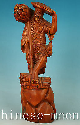 12inch Rare Old hight Chinese boxwood Hand Carved Farmer Statue Japanese Netsuke