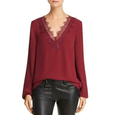 WAYF Womens Red Chiffon Lace Trim V-Neck Peasant Top Blouse S BHFO 7708