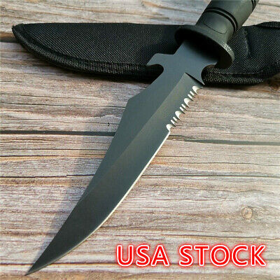"11.8"" Outdoor straight knife 5Cr13 blade ABS rubber handle hardness survival"