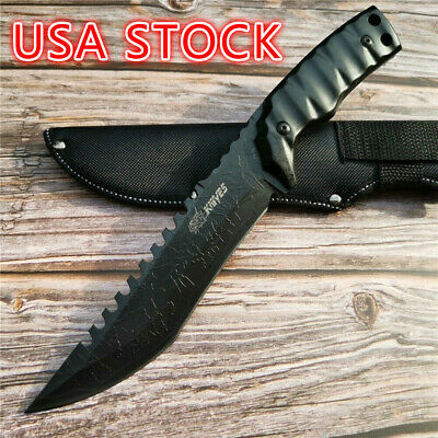 "12.4"" Wild Survival Multi-purpose Hunting Outdoor Straight Knife 55HRC Hardness"