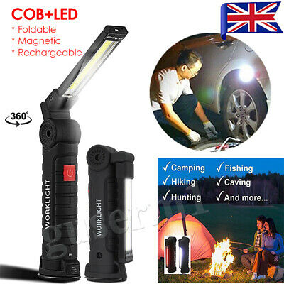 Magnetic Rechargeable COB LED Torch Flexible Inspection Lamp Cordless Work Light