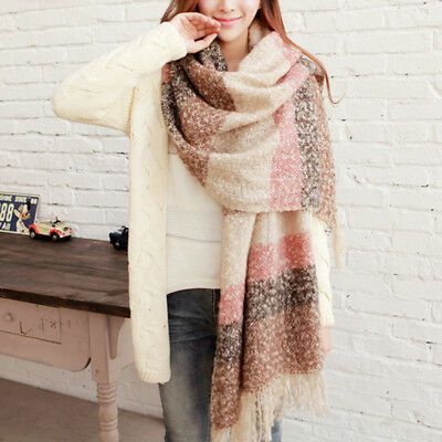Fashion Women Winter Warm Mohair Knitted Tassel Long Scarf Wrap Shawl Scarves