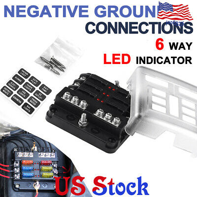 fuse block box holder 12v caravan marine 6 ways dual battery atc ato blade  us