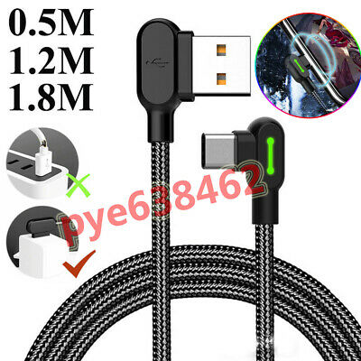 90° Elbow USB-C Type-C Fast Charger Charging Nylon Cable Adapter ​For Samsung UK