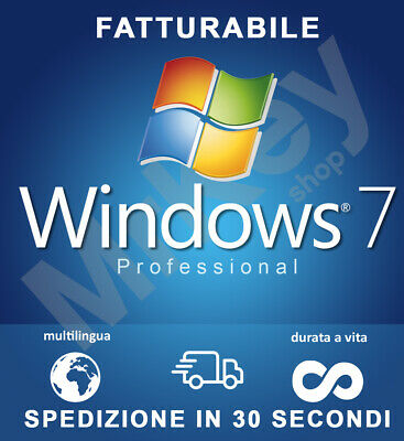 WINDOWS 7 Pro Professional 32/64bit ESD Licenza Microsoft Originale 100%