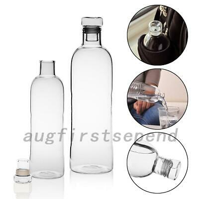Clear Glass Bottle Juice Cold Hot Water Drink Bottle Camping Cycling Hiking AU