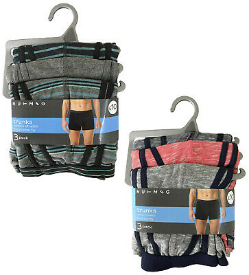 Mens Boxer Shorts 3 Pack Trunks Cotton Stretch With Fly Ex Uk Store Rrp £10 New