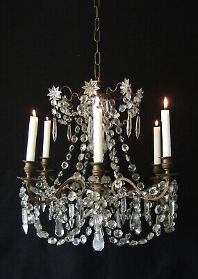 Antique  French Ormolu With Crystal Drops & Chains 6 Branch Candle Chandelier