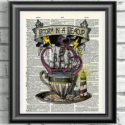 Nautical Art Print Bathroom Decor Storm in a Teacup DICTIONARY ART Octopus