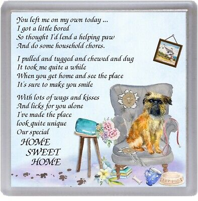 """Griffon Dog Coaster """"HOME SWEET HOME Poem ...."""" Novelty Gift by Starprint"""
