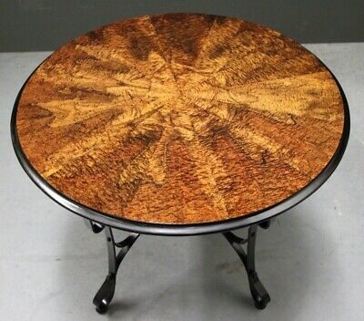 Rare Art Deco circular table ornate figurative marquetry antique wrought iron