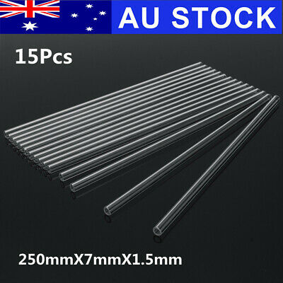 15x 250mmX7mmX1.5mm Thick Borosilicate Blow Glass Pyrex Blowing Tube Lab Tubing