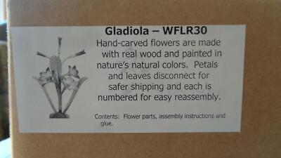 """Gladiolus 18"""" Tall 3x 4"""" Flowers  Wooden Flower Kit Hand Painted"""