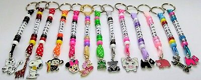Personalised Keyring / Bag Tag CHOOSE CHARM School Book Bag Party Gift Animals