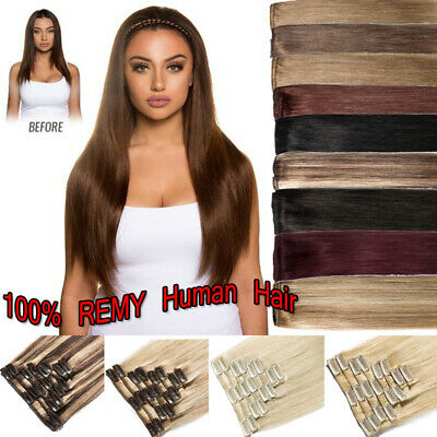 AAA+ Real Soft Hair 8pcs clip in REMY human hair extensions Full Head UK SALE H9