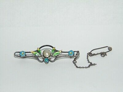 BEAUTIFUL ANTIQUE ART NOUVEAU STERLING SILVER with PEARL & ENAMEL SET BROOCH