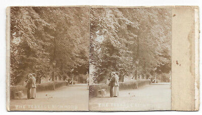 RICHMOND Surrey, View of the Terrace - Antique Stereoview Photograph c1900