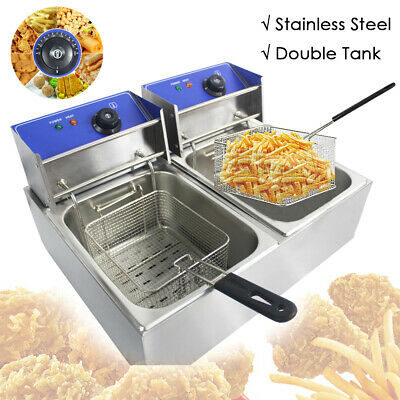 2x10L Electric Deep Fat Fryer Stainless Steel Commercial Twin Double Tank Chip