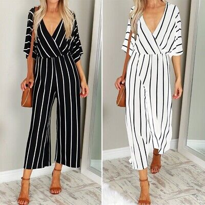 Sexy Women V Neck Loose Playsuit Party Romper Short Sleeve Long Jumpsuit S-3XL