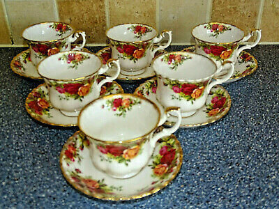 Royal Albert Old Country Roses  Tea  Cups And Saucers X6  Tea Set Dinner Service