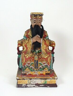 Fine antique Chinese Qing Dynasty gesso and wood figure
