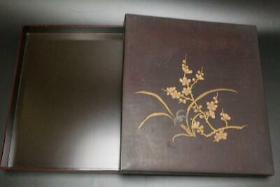WBX19 Japanese old lacquer wooden gold cherry blossoms & Iris makie box #shodo