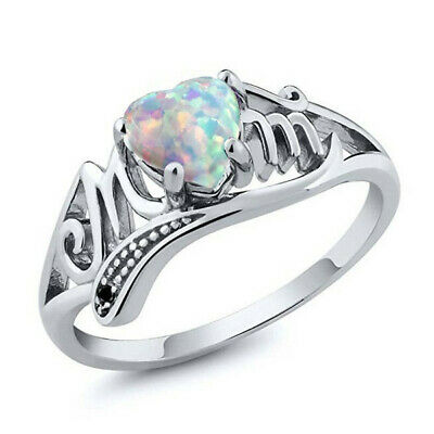MOM Women Heart Shaped Fire Opal 925 Silver Ring Mother's Day Gift Size 6-10 Ms