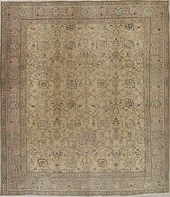 ANTIQUE Muted Light Brown Persian Oriental Floral Distressed Area Rug Wool 10x12