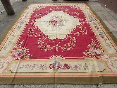 Old Hand Made French Design Wool Red Green Large Original Aubusson 362X278cm