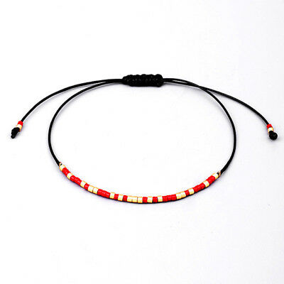 Friendship Bracelet Handcraft Cuff Bangle Seed Beaded Crystal String Lucky Chain